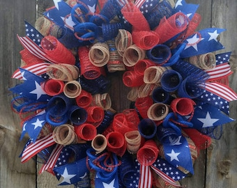 Patriotic wreath, rustic patriotic wreath, flag day wreath, 4th of July wreath, memorial day wreath, patriotic spiral deco mesh wreath