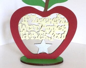 "Best Teacher Apple Gift ~ Handmade Teachers Appreciation Plaque ~ Red Apple School Sign Decor ~ ""If Teachers Were Apples…"""