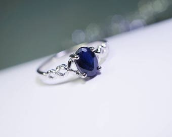 Natural Blue Sapphire Ring - Tiny Gemstone Ring - Delicate Promise Ring - Sterling Silver Engagement Ring