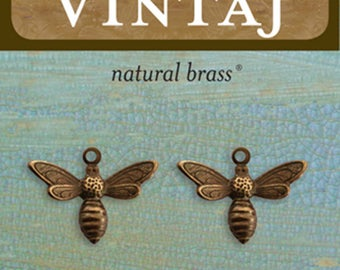 Vintaj Metal Accent Busy Bee Charms - Metal Scrapbook Accents - Metal Bee Embellishments - Vintaj Busy Bee Metal Accent - Small Bee Charms