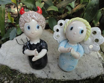 Angel and devil- small ceramic sculptures-Handmade
