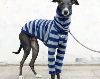 Italian Greyhound Clothing, Fleece, Long sleeves T-shirt, Stripe [Navy/Gray]