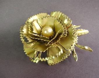 Vintage Gold Flower Brooch, Scarf Brooch, Tin Flower Brooch, Wedding, Gifts Under 20