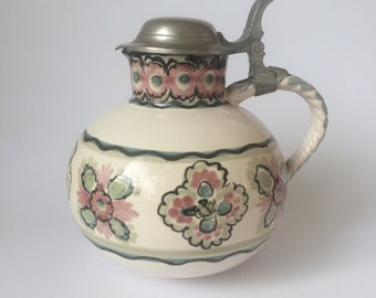 Lovely Vintage Flowered Italian Jug Pitcher hand painted