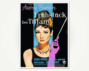 Breakfast At Tiffany's Poster Print - Vintage Audrey Hepburn Movie Poster Art