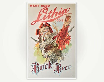 West Bend Lithia Co's Bock Beer Poster - Vintage 1930's West Bend Wisonsin Brewery Poster