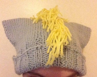 Gray Pony Hat - Hand-Knit Hat with Ears and Fringe - My Little Pony Ditzy Doo (Derpy Hooves)