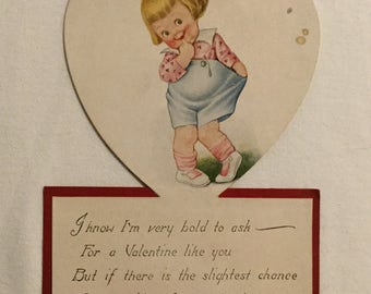 Antique 1920 Gibson Standup Heart Shaped Valentines Greeting Card