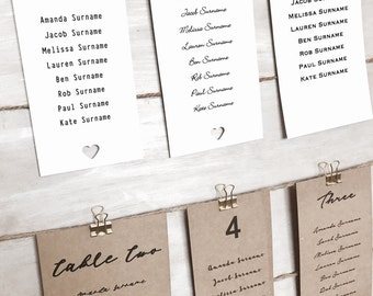 wedding table guest seating chart cards plans