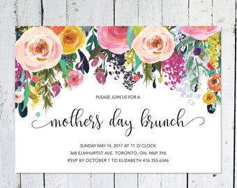 Mother's Day Invitation. Mothers Day Brunch, Printable, Floral, Digital