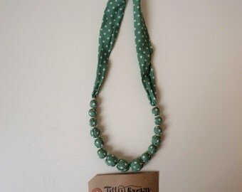 Green polka dot fabric beaded necklace