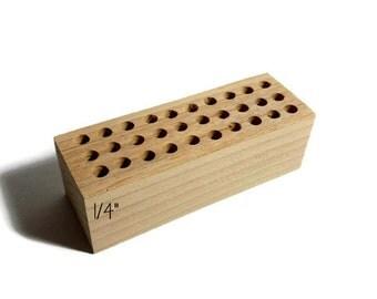 """1/4"""" holes Small metal stamp holder, wooden stamp block for metal stamps, Alphabet stamp holder, custom metal stamp holder, metal stamps"""