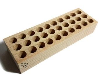 """5/8"""" holes Small metal stamp holder, wooden stamp block for metal stamps, Alphabet stamp holder, custom metal stamp holder, metal stamps"""