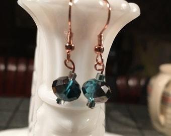 Dark Blue Faceted Earrings