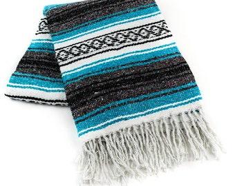 Mexican Throw Blanket -  Turquoise Blue, Dark Gray, Black & White Aztec Design