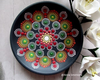 Mandala. Bright, mysterious, magical flower. The original. A ceramic plate. An amazing gift for her.
