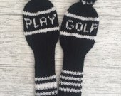 Golf club head cover set putter cover hand knitted covers head covers utility woods black and white