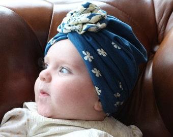 Flower full turban hat, turban headwrap, fashion turban, vintage style, baby girl gift, baby scarf, baby shower gift, baby turban headband