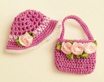 Crocheted Barbie hat and handbag, doll hat and bag