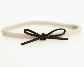 Black Suede Bow headband for Newborn-24 months