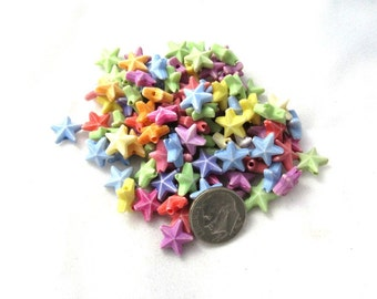 100 Assorted Color Acrylic Star Beads (s7d)