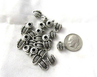 50 Antique Silver Wave Bail Beads 8x10mm (s11j1)