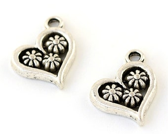 20 Antique Silver Tone Heart Charms w/Flowers 15 x 14mm (B144d)
