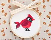 Red Northern Cardinal Cross Stitch Pattern PDF | Cute Little Bird | Easy | Modern | Beginners Counted Cross Stitch | Instant Download
