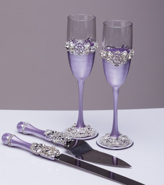 Wedding Glasses And Cake Server Set Wedding Cake Knife Lavender And