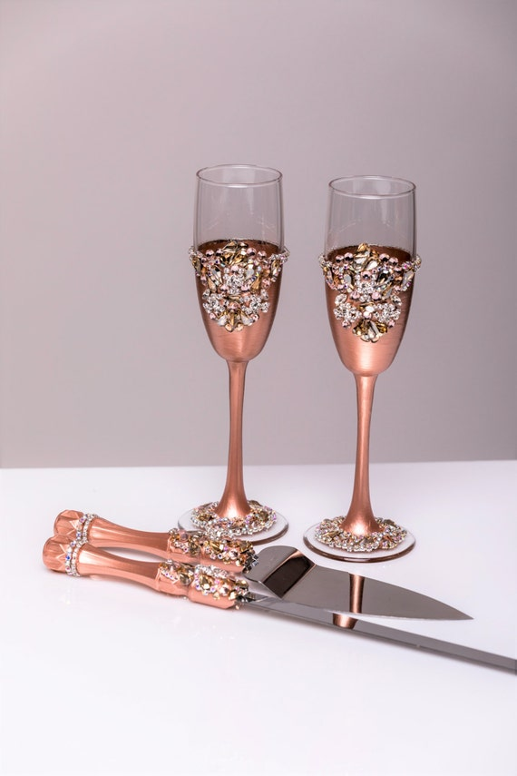 rose gold wedding cake serving set gold wedding glasses and cake server set cake knife 19292