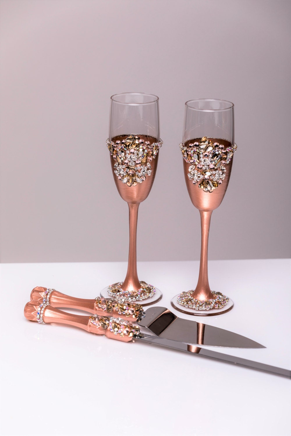 Rose Gold Wedding Glasses And Cake Server Set Cake Knife Rose