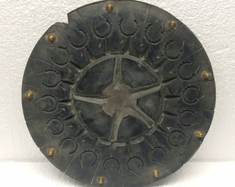 Vintage Jewelry Mold Industrial Factory Salvage Steampunk Wheel Trivet Wall Decor Hanging