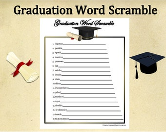 Printable Graduation Word Scramble Game~Graduation Word Game~Graduation Party Game~Instant Download Graduation~High School~College~Digital