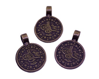 5 Antique Bronze 20mm Ottoman Signature Charms | Ottoman Charms, Bronze Ottoman Charms, Ottoman Empire, Signature Charms
