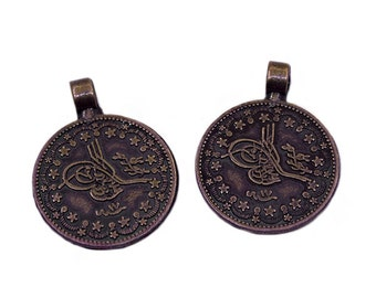 3 Antique Bronze 25mm Ottoman Signature Charms | Ottoman Charms, Bronze Ottoman Charms, Ottoman Empire, Signature Charms