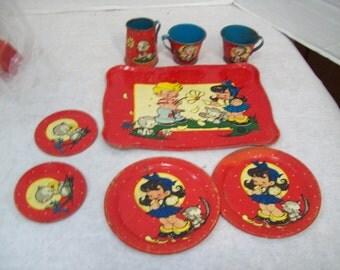 Eight Piece Ohio Art 1950's Tin Litho Children's Play Dish Set