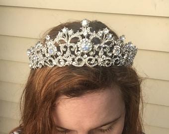 Wedding tiara, Austrian crystal, white gold plated