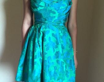 Vintage green and blue floral brocade dress