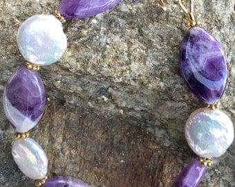 Fancy Amethyst and Pearl Bracelet