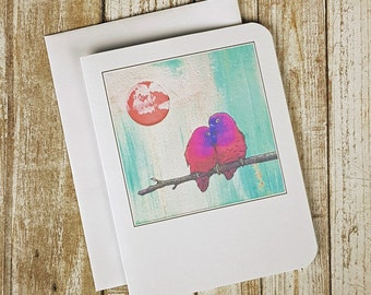 Love Birds - Love Card - Wedding Card- Engagement Card - Anniversary Card - Valentine Card - Romance Card - Bird Card