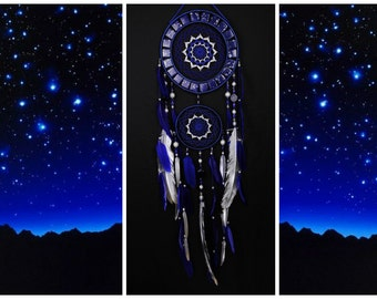 Dreamcatcher dark blue mosaic Dream Catcher Large Dreamcatcher New Dreamсatcher gift idea NEW YEAR dreamcatcher boho dreamcatcher wall gift