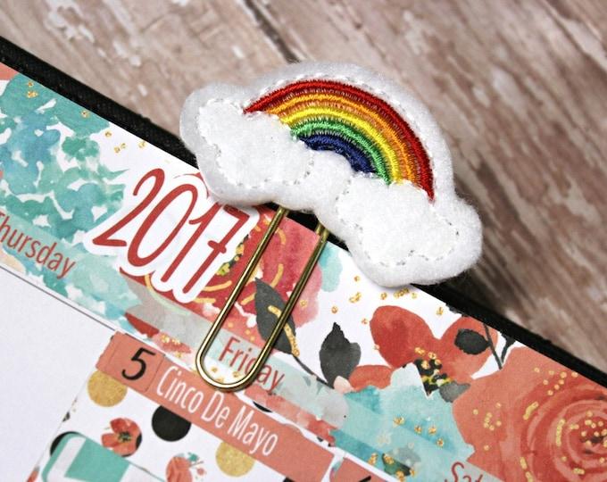 Planner Clip - Planner Bookmark - Painbow Planner clip - Rainbow Cloud Planner clip- Felt Planner Clip - Felt Bookmark - Feltie - Paper clip