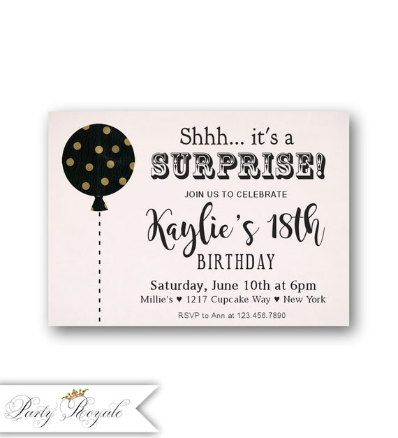 SURPRISE 18th Birthday Invitations / Pink Gold And Black Party