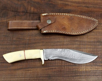 "Survivor No. 2 -  Kukri Style Handmade Damascus Steel Hunting Knife 12"" Camel Bone Scales"