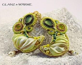 Lemon Moon shibori & Soutache earrings