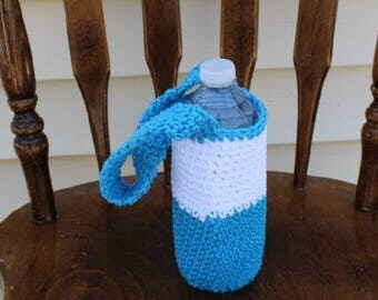 Blue and White Water Bottle Tote, Bottle Carrier, Water Bottle  Bag, Crochet Bottle Bag, Water Bottle Holder