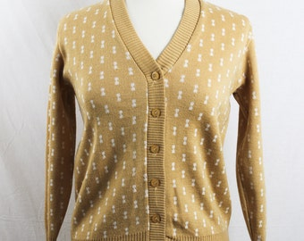 1960s Vintage Yellow Cardigan.Size Small