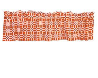 100% Cotton Canvas Valance Geometric Trellis Orange / Window Decor / Window Treatments