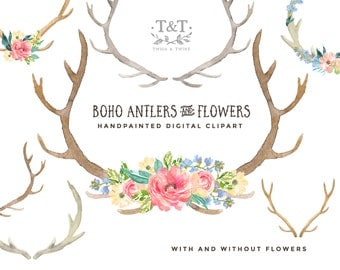 Antlers and Flowers - Hand Painted Watercolour Clipart Set