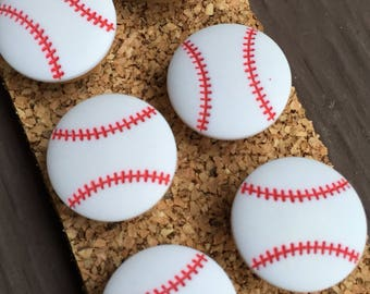 Baseball Push Pins, Thumb Tacks, Sports Decor, Pushpins, Baseball Decorations, Thumbtacks, Baseball Decor, Bulletin Board, Baseball Gifts